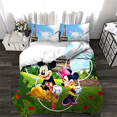 Goplnma - Ropa de cama Disney Mickey y Donald Duck, ropa de cama infantil, funda de edredón con funda de almohada (220 x 240 cm, 9)