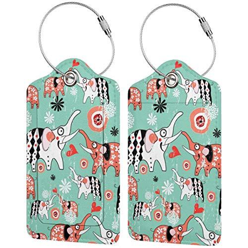 Textura de los amantes del elefante personalizado cuero maleta de lujo etiqueta Set viaje Accesorios equipaje etiquetas