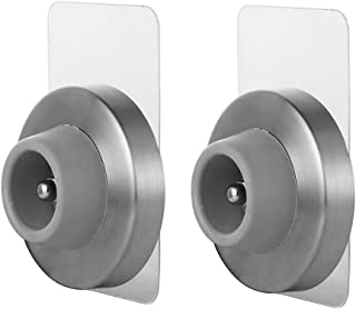 JQK Door Stopper, Sound Dampening Door Stop Bumper Wall Protetor with Grey Rubber 2 Pack, Adhesive or Wall Mount Brushed Nickel, Stainless Steel