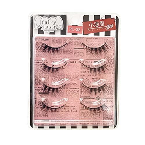 Faux cils RUI 4 Couples 3D Naturels pour Les Femmes, Maquillage Réutilisable Soft Natural Look, Queue des Yeux Allongé
