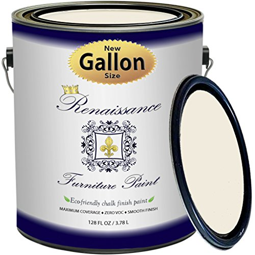 Chalk Finish Paint - 1 Gallon - Furniture Paint, Cabinet Paint, Interior Paint, House Paint, Wall Paint - Non Toxic, Eco-Friendly, Superior Coverage - Ivory Tower (128 oz)