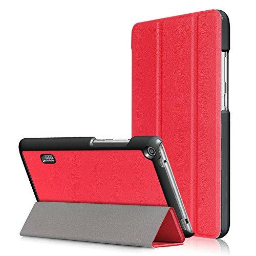 Hülle für Huawei MediaPad T3 7.0 WiFi,Smart PU-Leder Hüllen Schutzhülle Tasche Case Cover für Huawei MediaPad T3 7.0 WiFi - Rot