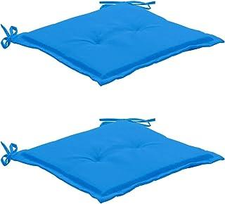 Goliraya Cojines para sillas de jardín 2 Unidades Azul 50x50x3 cm
