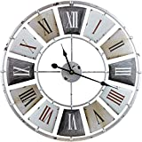 "Sorbus Large Decorative Wall Clock, Centurion Roman Numeral Hands, Vintage Industrial Rustic Farmhouse Style Modern Home Decor Ideal for Living Room, Analog Wood Metal Clock, 24"" Round"