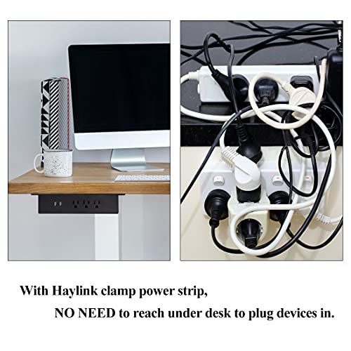 Haylink Under Desk Power Strip, UL Listed Hanging Power Outlet Surge Protector with 3 AC Outlet, 2 USB Port and 4.92ft Power Cord(Black)