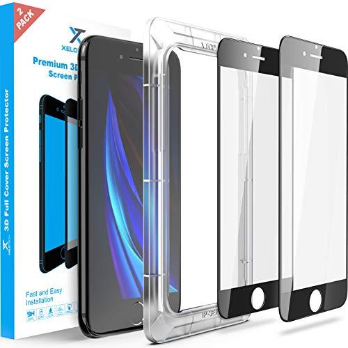 XeloTech 2X 3D Schutzglas für iPhone SE 2 Generation 2020 - Installation mit Rahmen-Schützt das komplette Bildschirm - Full Cover