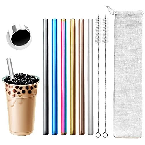 6pcs pajitas reutilizables de metal para beber - pajitas de acero inoxidable de 8.5 pulgadas - compatibles con vasos de 20 oz Yeti bebida fría
