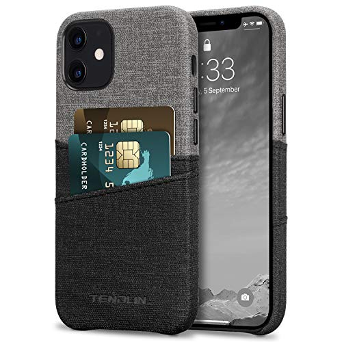 TENDLIN Compatible with iPhone 12 Mini Case Wallet Design Premium Leather Case with 2 Card Holder Slots (Gray)