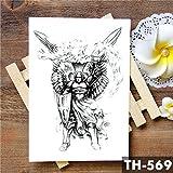 Handaxian 3pcsWinged Saint Angel Etiqueta engomada del Tatuaje a Prueba de Agua Brave Knight Warrior Tattoo Body Art Arm Tattoo 3pcs-5