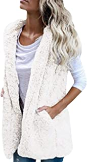 Women Vest Coat Sleeveless Hoodies Cardigan Sherpa Jacket Coat Outerwear Tops