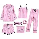 Pijama sexy de seda para mujer de verano para primavera y otoño, siete piezas, a rayas finas para el hogar Rosa rosa M