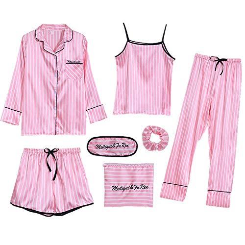 Pijama sexy de seda para mujer de verano para primavera y otoño, siete piezas, a rayas finas para el hogar