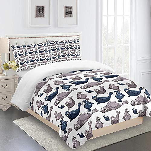 RYQRP Single Duvet Cover Set Seals Animals Quilt Bedding Set 3pcs with Zipper Closure in Polyester, 1 Printed Quilt Cover 140x200, 2 Pillowcases for Children Kids Teens Adults