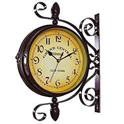 Image: Wrought Iron Antique-Look Brown Round Wall Hanging Double Sided Two Faces Retro Station Clock Round Chandelier Wall Hanging Clock with Scroll Wall Side Mount Home Décor Wall Clock 8-inch