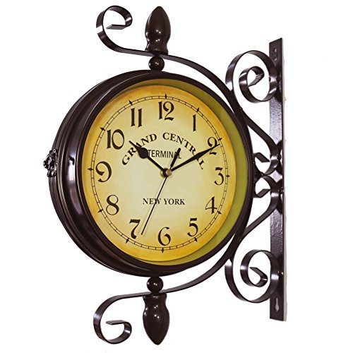 WOOCH Wrought Iron Antique-Look Brown Round Wall Hanging Double Sided Two Faces Retro Station Clock Round Chandelier Wall Hanging Clock with Scroll Wall Side Mount Home Dcor Wall Clock 8-inch