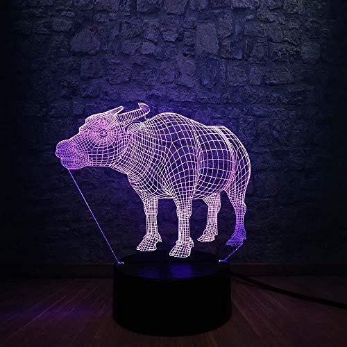 Jongens kerstgeschenken 3D nachtlampje nieuw wild dier 3D koevorm USB LED-lamp 7 kleuren veranderende kleurrijke god vieh tafel nachtlampje kinderen verjaardag kerstcadeau met afstandsbediening