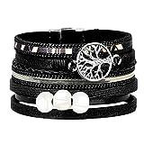 ISHOW Tree of Life Multilayer Leather Wrap Bracelets,Boho Handmade Gorgeous Cuff Bracelet