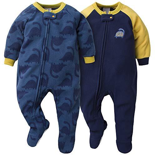 Gerber Baby Boys 2-Pack Blanket Sleeper, Blue/Gold Dino, 12 Months