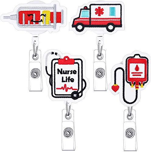 4 Pieces Felt Nurse Badge Reel Holder Retractable Badge Holder ID Badge Reel Clip Cute Nursing Name ID Badge Holders for Nurse Doctor Teachers Students