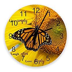 Live Love Laugh Wooden Round Wall Clock 12'' Silent Battery Operated Non Ticking Clock, Close Up Butterfly Yellow Backdrop Noiseless Office Kitchen Bedroom Wall Clock Home Decor