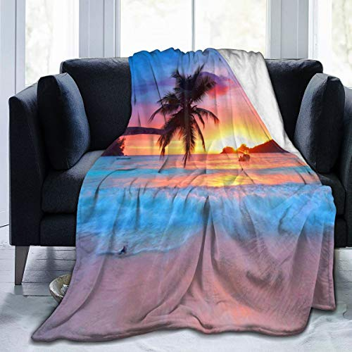 Flannel Blanket Ocean Sunrise Tropical Palm Tree Lightweight Cozy Bed Blanket Soft Throw Blanket fits Couch Sofa Suitable for All Season for Kids Women Men 60x80 inches