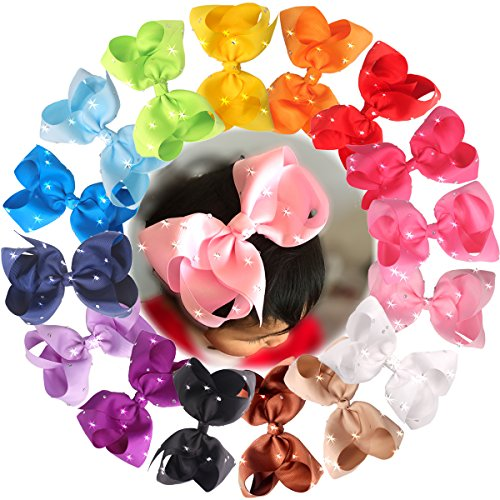 CELLOT 6 Inches Big Hair Bows Clip Glitter Rhinestones Large Boutique Cheer Bows...
