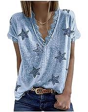 Camiseta De Manga Corta De Encaje Estampada para Mujer De Moda De Primavera Y Verano
