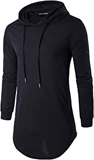 Defal Mens Hipster Long Sleeve Side Zipper Hooded Shirt Pullover Sweatshirt