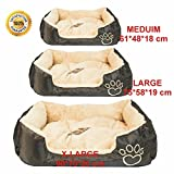 MAX-CARE Deluxe Soft Washable Dog Pet Warm Basket Bed Pad with Fleece Lining (BROWN ((Medium(61 * 48 * 18cm)))