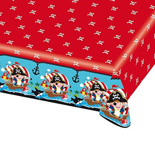 NET TOYS Colorido Mantel Lavable Motivo Pirata | 120 x 180 cm | Increíble decoración para la Mesa Fiesta Motivo Pirata Fiestas de cumpleaños Infantil y Fiestas Infantiles