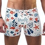 TIZORAX - Bañador corto para hombre, diseño de peces de coral con estrellas de mar, concha de algas marinas cuadradas, pantorrillas, bañador Multicolor multicolor XL