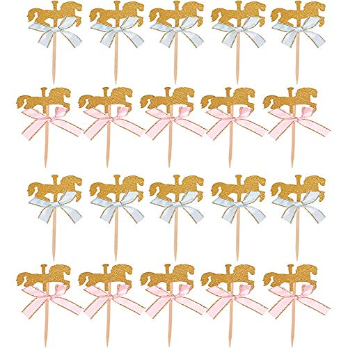 20 Piezas Caballo Tarta, Caballo Topper, Decoración Carrusel Toppers, Decoración de Carrusel con Lazos Que se Pueden Usar para Decorar Postres y Pasteles (Rosa y Azul)