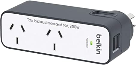 Belkin BST201au Travel Surge Protector, White and Grey, 4
