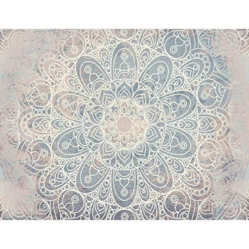 Fototapete Mandala Orientalisch 352 x 250 cm Vlies Tapeten Wandtapete XXL Moderne Wanddeko Wohnzimmer Schlafzimmer Büro Flur Blau Beige Weiss 9286011b