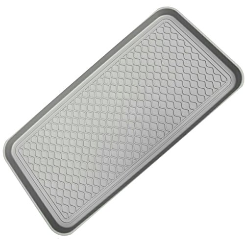 Mr. Peanut's Anti-Slip Multi-Purpose Boot Tray & Pet Feeding Mat for Boots, Shoes, Paint, Dog Bowls, Cat Litter Box, Gardening. Floor Protection with Anti-Slip Pads, 30 x 15 x 1.2 (Platinum Gray)