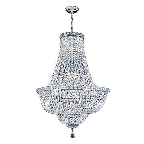 "Worldwide Lighting Empire Collection 15 Light Chrome Finish Crystal Chandelier 22"" D x 31"" H Round Medium"