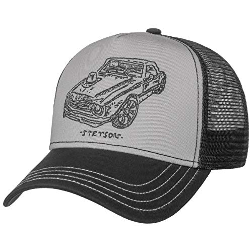 Stetson Muscle Car Trucker Cap Herren - One Size (55-61 cm) - Verstellbare Mesh Cap im American Style - Snapback mit luftigem Netzteil - Zweifarbige Basecap Sommer/Winter schwarz One Size