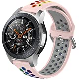 BANLOUKA Rainbow Bands Compatible with Amazfit GTR 47mm/LG G Watch W100/R W110 Bands,22mm Colorful...