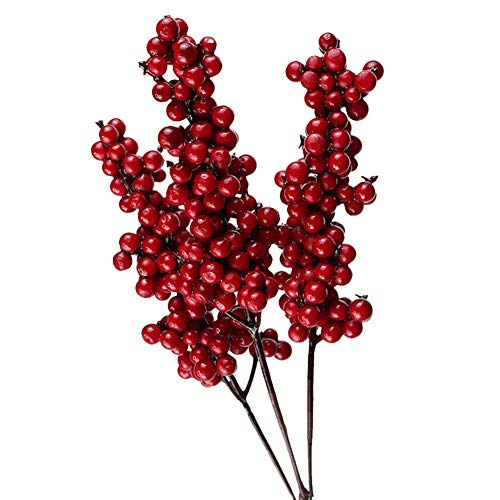 FYBlossom Künstliche Rote Beeren, 10 Stück Deko Zweige mit Roten Beeren Herbstzweige Weihnachten Picks,Länge 20/26cm. Zweig Beeren Deko (01)