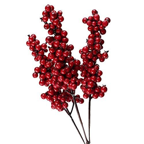 FYBlossom Künstliche Rote Beeren,Deko Zweige mit Roten Beeren Herbstzweige. 10 Stück Weihnachten Picks,Länge 20/26cm. Zweig Beeren Deko (01)