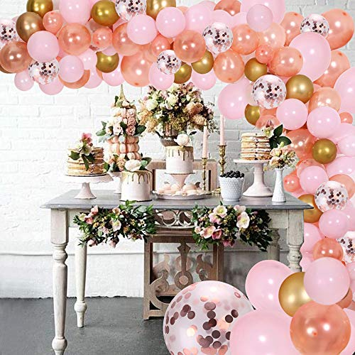 DIY ballon slinger kit & ballon boog, partij benodigdheden decoraties, roze, roségoud & Confetti ballonnen Pink, Rose, Gold