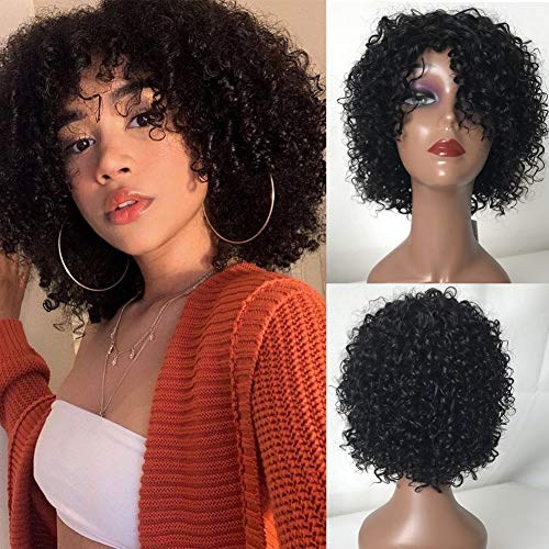 TodayOnly Short Kinky Curly Human Hair Wigs 10Inch None Lace Front Wig with Bangs for Black Women 10A Virgin Hair Short Bob Curly Wig 150% Density (10 Inch, Natural Black)