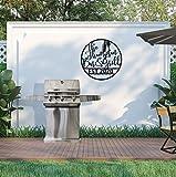 DKISEE Grill-Schild, personalisiertes Nachnamenschild für Grill, Grill und Chill, personalisiertes Grillgeschenk, schwarzes Metall, Wandkunst, Wandbehang für Heimdekoration, 45,7 cm, MSD1300