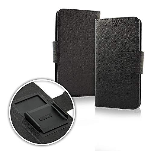 (Universal) kompatibel mit NUU MOBILE A1+ / 3G / 4G Schutzhülle Cover Hülle Flip Cover Stand mit Innenhaken 360° drehbar Magnetischer Schutz Geldbörse Kunstleder (Schwarz/Innen)