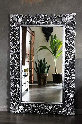 Naturesco Edler Wandspiegel Barockspiegel Spiegel Barock Rokoko Holzrahmen handgefertigt Silber antik 120cm x 70cm