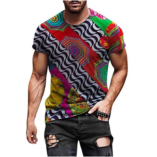 Camisetas Manga Corta Hombre Estilo éTnico Retro Tops De Hombre AlgodóN De Cuello Redondo Transpirable En Verano Short-Sleeve Crewneck Cotton Deportivo T-Shirt For Men Pullover (A12, M)