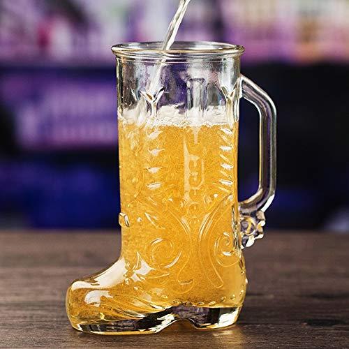 HUIJ Stivale da Birra in Vetro con Manico: Boccale di Birra,Boccali,Boccale di Birra,Bicchiere di Succo Addensato,per Bar KTV Boccale di Birra in Vetro di personalità Creativa (600 ml)