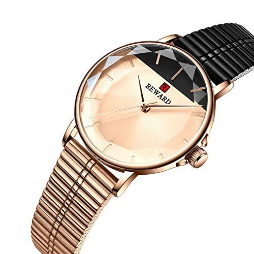 JIADUOBAO -S Brand - Reloj de cuarzo para mujer con cristal de lujo, malla de acero inoxidable, resistente al agua, regalo S (color: oro rosa negro)
