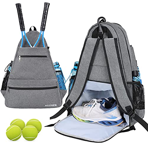 ACOSEN Tennis Bag Tennis Backpack - Tennis Bags for Women or Men to Holds 2 Tennis Rackets, Pickleball Paddles, Clothes and Balls, Separate Ventilated Shoe Compartment (Gray - B)