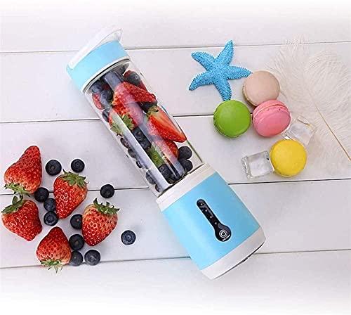 Mini Blender Portátil, Blender Personal Mezclador de frutas Cuerpo de vidrio 480 ml Capacidad Acero inoxidable Hoja 2000mAh Batería eléctrica USB Recargable Jugo eléctrico Máquinas de extractor Home V